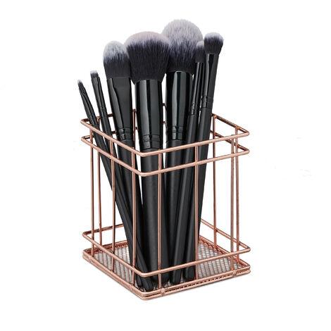 Pot à pinceau de maquillage, rangement cosmétique, fil métallique, organiseur bureau, HLP 10x9x9 cm, cuivre