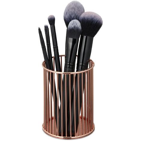 Pot à pinceau de maquillage, rangement cosmétique, fil métallique, organiseur bureau, HxD 10 x 8 cm, cuivre