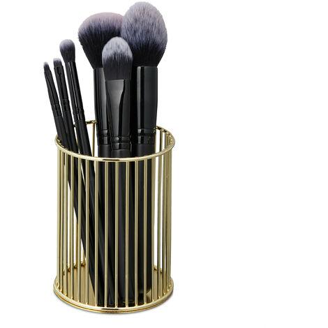 Pot à pinceau de maquillage, rangement cosmétique, fil métallique, organiseur bureau, HxD 10 x 8 cm, doré