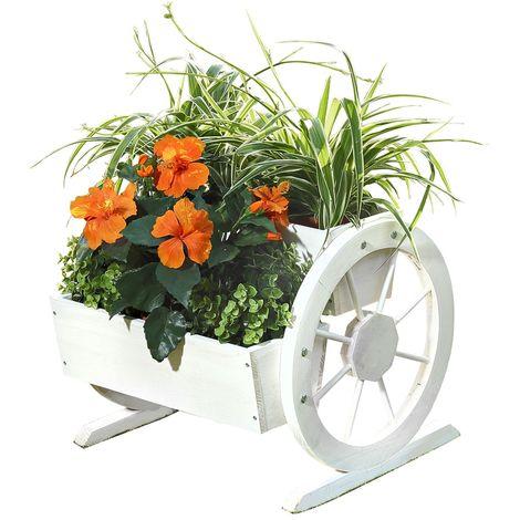 pot à plantes roues de wagon de fleur auge décoration de jardin en bois boîte en bois fleur blanche