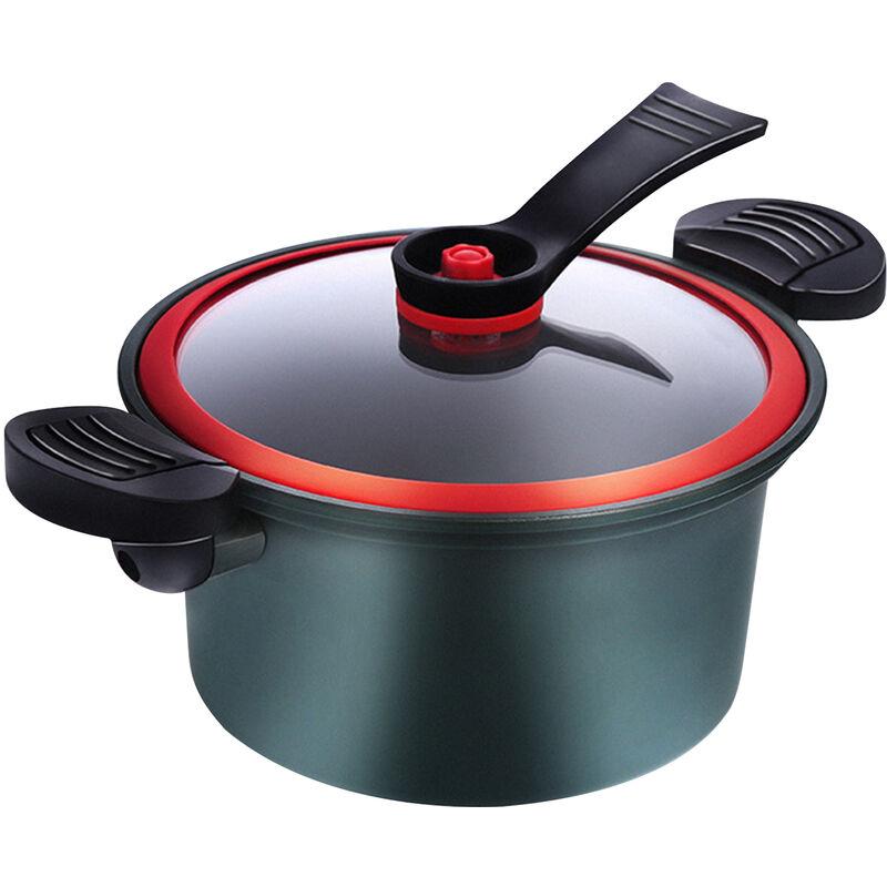 Asupermall - Pot A Soupe 3.5L Marmite De 8 Pouces Avec Support Couvercle En Verre Marmite A Revetement Antiadhesif 6 Couches Compatible Batterie De