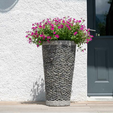 Pot bac jardinière conique galet 80cm jardin extérieur zen