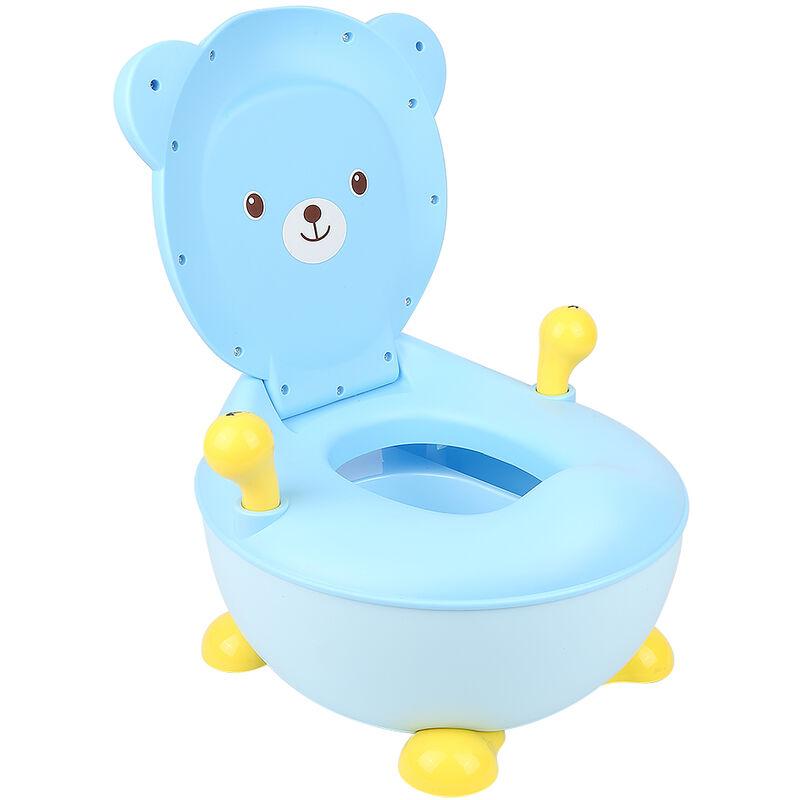 Pot Bébé, Toilette WC Bébé, en Forme d'Ours en Plastique avec Bol à Déchets Détachable Toilette Portative Bleu - Bleu