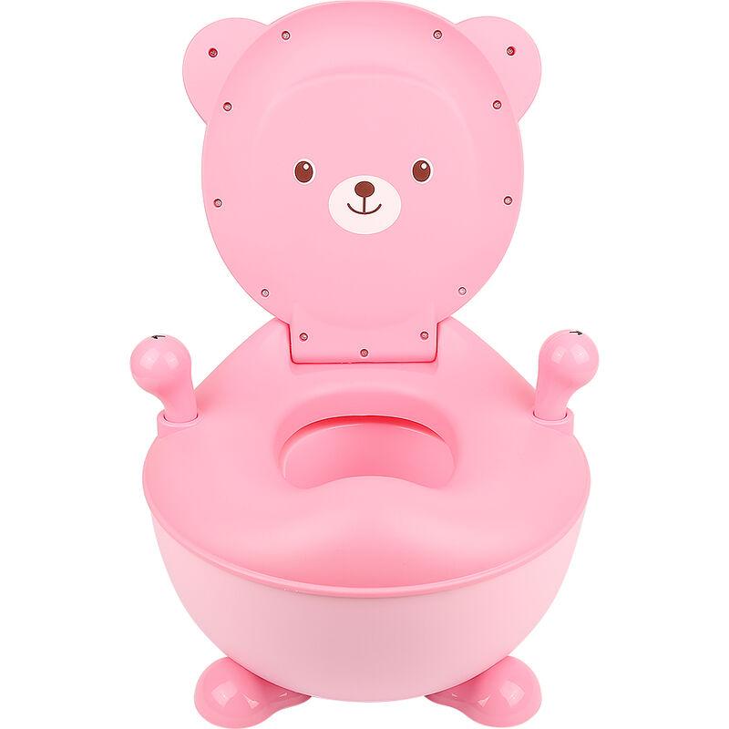 Oobest - Pot Bébé, Toilette WC Bébé, en Forme d'Ours en Plastique avec Bol à Déchets Détachable Toilette Portative Rose - Rose