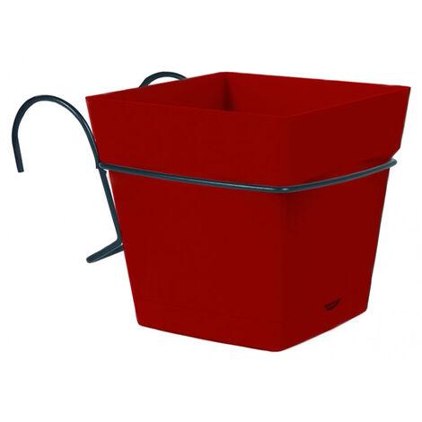 Pot carré TOSCANE 3,4L avec support - Rouge rubis