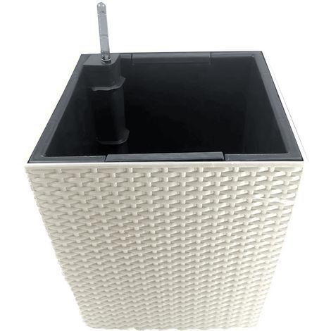 Pot De Fleur Carre, Avec Arrosage Automatique, 29 X 29 X 33 Cm, Blanc Casse