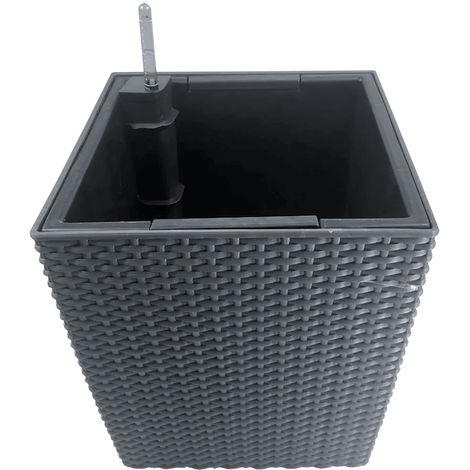 Pot De Fleur Carre, Avec Arrosage Automatique, 29 X 29 X 33 Cm, Gris
