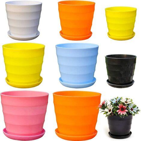Pot de Fleur Coloré, Petits Pots de Fleurs Interieur, Pot de Fleurs en Plastique, Pot de Fleurs Rond en Plastique(8 Couleurs Sont Envoyées au Hasard)