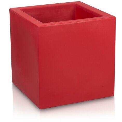 Pot de fleur CUBO 60 en plastique, dimensions: 60x60x60 cm (L/P/H), couleur: rouge mate