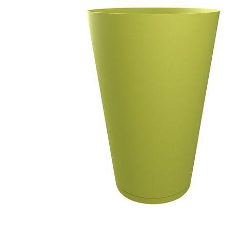 Pot de fleur design Tokyo 30 Diam.30 H.43 GROSFILLEX - Gris Beige - Extérieur - Soucoupe amovible intégrée