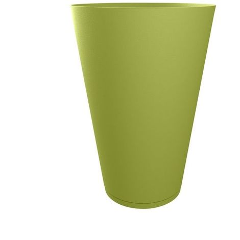 Pot de fleur design Tokyo 40 Diam.39 H.49 GROSFILLEX - Taupe - Extérieur - Soucoupe amovible intégrée