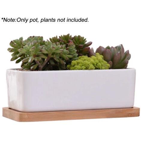 Pot De Fleur En Ceramique Rectangle Avec Plateau En Bambou Pot De Plantes Succulentes Pour La Decoration De Bureau De Table