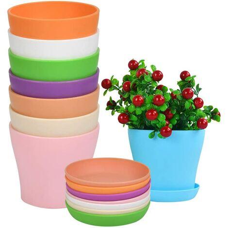 Pot de fleur en plastique 8pcs avec soucoupe, pot de fleur de couleur intérieure et extérieure