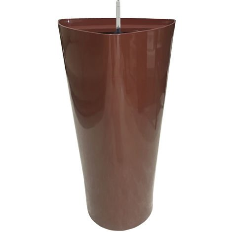 Pot De Fleur Haut, Avec Systeme D'Arrosage Automatique, 40X40X75Cm, Cafe