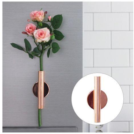 Pot de fleur rose Accueil Art mural Décoration suspendue Arrangement de fleurs artificielles Support en métal Vase Or