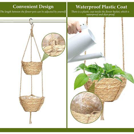 Pot de fleur suspendu Panier suspendu d'algues à 2 couches d'intérieur Support de plante suspendu avec corde de jute réglable Pots suspendus décoratifs Paniers de rangement pour plantes Pots de fleurs Décoration de chambre