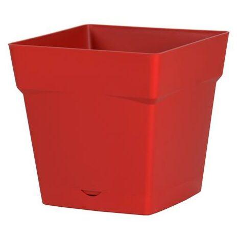 Pot de fleur Toscane avec soucoupe 17,4x17,4x17cm carré - 3,4L - Rouge Rubis