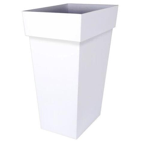 Pot de fleur Toscane XXL 43,3x43,3x80cm carré 98L - Blanc