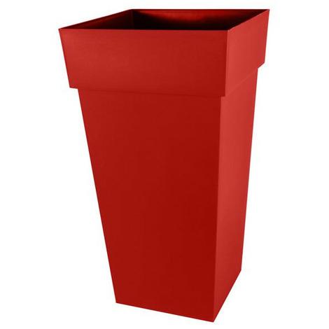 Pot de fleur Toscane XXL 43,3x43,3x80cm carré 98L - Rouge Rubis
