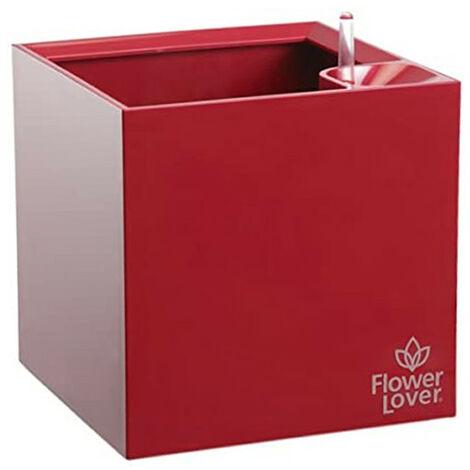 Pot de fleurs - Cubico - Rouge élégant - 14x14x14cm - Flower Lover
