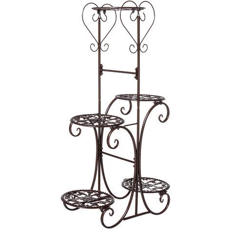 Pot de fleurs en métal à 5 niveaux, support d'étagère à fleurs, jardin, intérieur, extérieur (marron, type B)