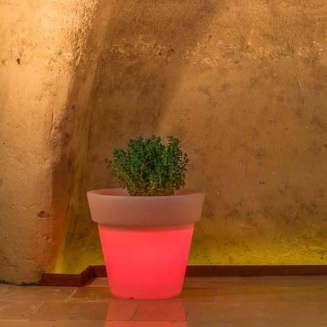 Pot de Fleurs en résine mod. Begonia Rond avec Led