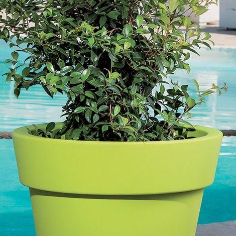 Pot de fleurs plastique Gemma MONACIS - Blanc - Taille 2 - Utilisable en Intérieur et Extérieur. - Blanc