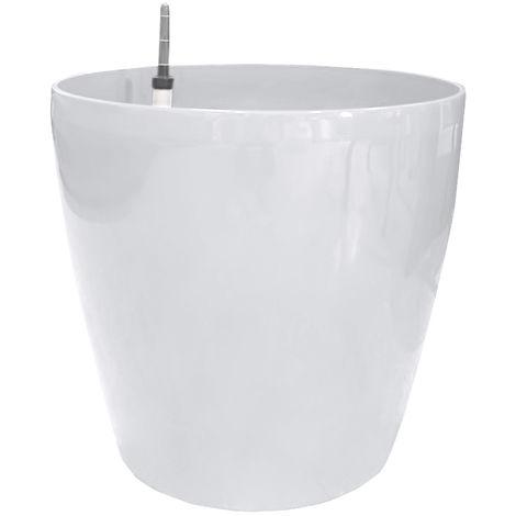 Pot De Fleurs Rond, Avec Arrosage Automatique, 37 X 35 Cm, Blanc