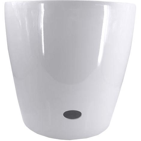 Pot De Fleurs Rond, Avec Arrosage Automatique, 51 X 48,5 Cm, Blanc