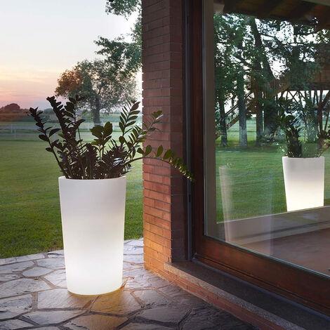 Pot de fleurs rond lumineux X-Pot Light - Blanc