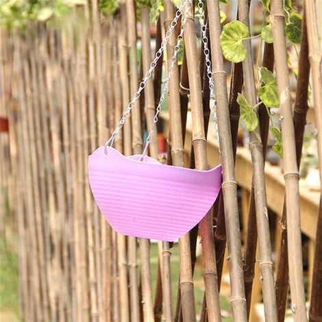 Pot de fleurs suspendu en plastique suspendu mural avec chaîne suspendue Vert - Vert