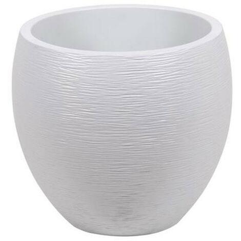 Pot Egg Graphit - Blanc cérusé - 50x45cm 46L - EDA Plastiques - Intérieur et extérieur