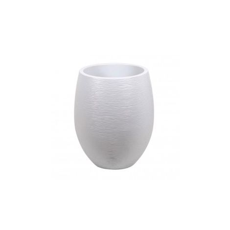 Pot Egg Graphit haut - Blanc cérusé - 50x60cm 53L - EDA Plastiques - Intérieur et extérieur