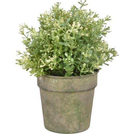 Pot fleur en métal vieilli - D 12,6 cm x H 11,2 cm - Vert - Livraison gratuite