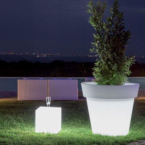 Pot fleurs lumineux LED RGB Gemma MONACIS - Led RGB - Taille 1 - Utilisable en Intérieur et Extérieur. - Sur secteur - Led RGB