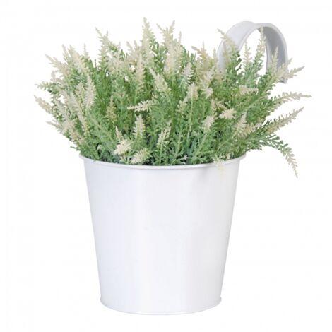 Pot jardinière en zinc - L 26,8 x l 16,3 x H 21,7 cm - Blanc