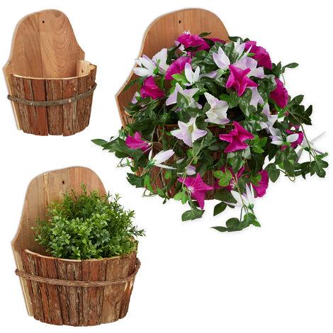 Pot mural pour fleurs, jeu de 3, bois naturel, contenant á plantes pour extérieur, décor, suspendu, nature.