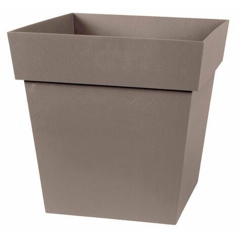 Pot plastique carré toscane 22 32 x 32 x 32 taupe