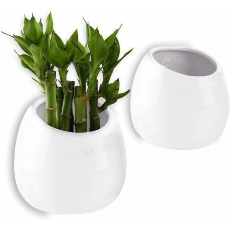 Pot pour Plantes Mural Blanc 10CM Céramique Lot de 2, Décoration Murale Décoration pour Salon Maison Jardin Soirée Fête Noël et Idéal Cadeau Créatif Décor