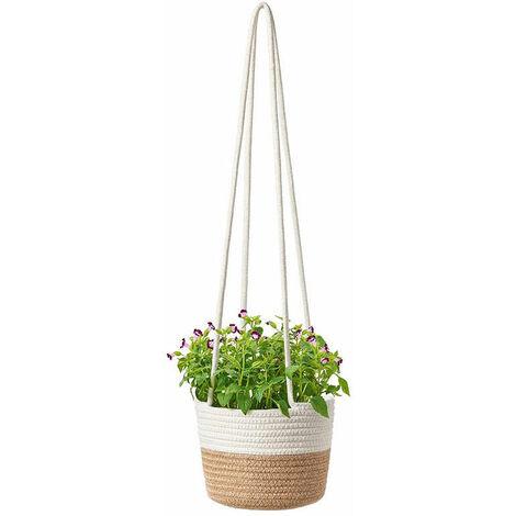 Pot Suspendu Cintres pour Plantes en Macramé à Suspendre à la Main en Corde de Coton à Suspendre pour Intérieur ou Plafond(2#)