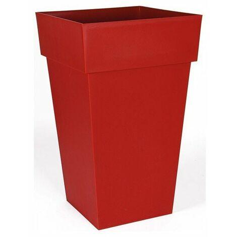 Pot toscane carre 51l rouge rubis ref.13628r.ru