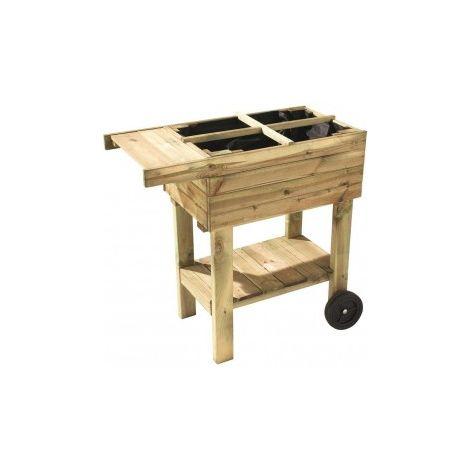 Potager en bois sur roulettes Prunella avec séparations - 80 x 40 x 90 cm - Forest-Style