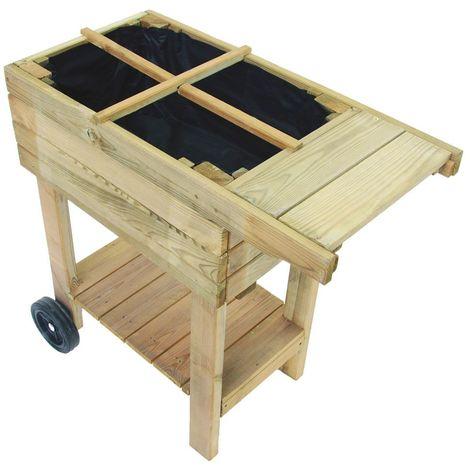 Potager sur pieds et roulettes en bois traité spécial balcon
