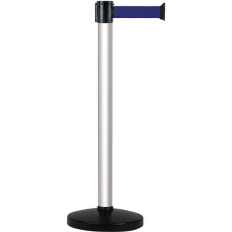 Poteau alu anodisé à sangle Bleu sur socle portable - Novap