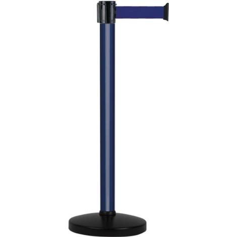 Poteau alu bleu à sangle Bleu sur socle portable - Novap