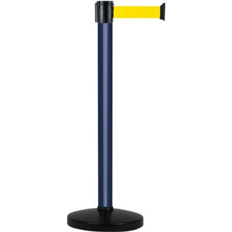 Poteau alu bleu à sangle jaune sur socle portable - Novap