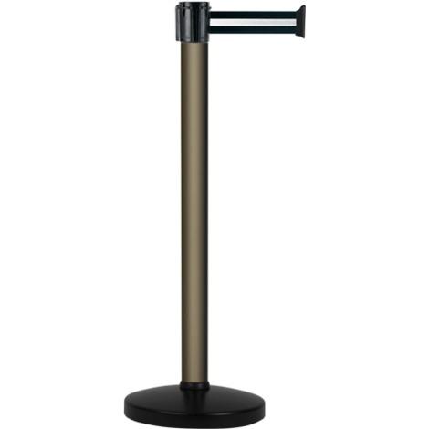 Poteau alu bronze à sangle Noir/Argent sur socle portable - Novap