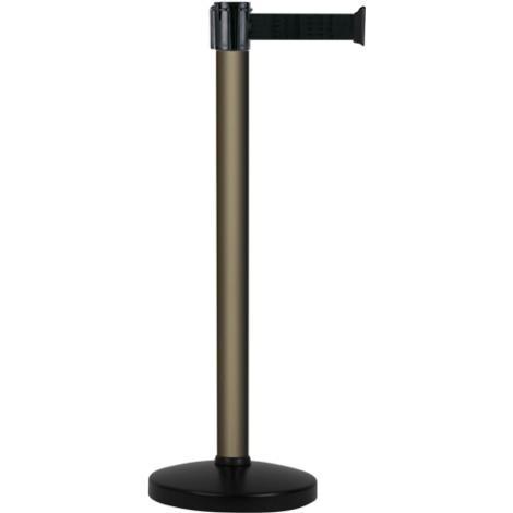 Poteau alu bronze à sangle Noir sur socle portable - Novap