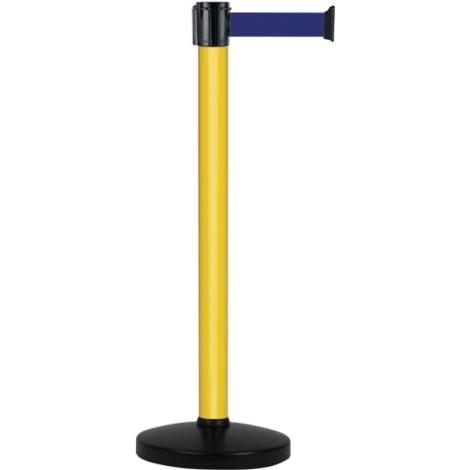 Poteau alu jaune à sangle Bleu sur socle portable - Novap