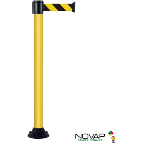 Poteau alu jaune à sangle Noir/Jaune Hachuré sur socle fixe - Novap
